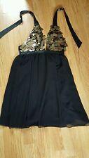 WOMENS LIPSY MINI DRESS  BLACK CHIFFON GOLD SEQUIN HALTERNECK  SIZE UK10 FAB!