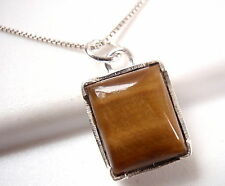 Sterling Silver Rectangle New Four-Pronged Tiger Eye Pendant 925