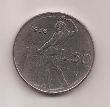 LIRE 50 DEL 1956 VULCANO IN ACMONITAL CIRCOLATA IN BUONE CONDIZIONI