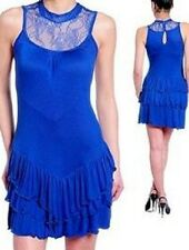 Royal Blue Sleeveless Dress With Lace Top Tiered Skirt Size M Medium NWT