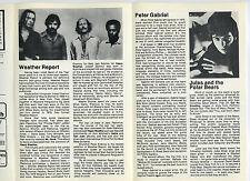 PETER GABRIEL Weather Report Original 1978 One-Show-Only Concert Program