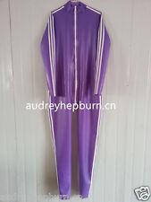 100% Latex Rubber Purple and White Bodysuit Fashion Anzug Tights Catsuit XS-XXL