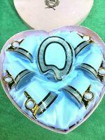 Imperial Japan Design Porcelain White Gold Tea Set: 6 Cups 6 Saucers in Box