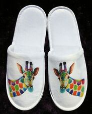 Unique soft white travel slippers printed with an original GIRAFFE design