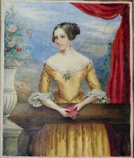 aquarelle 19ème époque romantique femme au livre