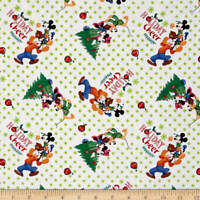 Disney Mickey Friends Trim the Tree 100% cotton Fabric by the yard