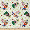 """Disney Mickey Friends Trim the Tree 100% cotton Fabric Remnant 33"""""""