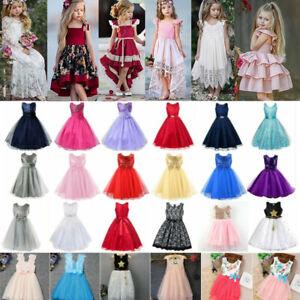 Baby Kinder Mädchen Partykleid Prinzessin Tüll Festkleid Blumen Abend Ballkleid
