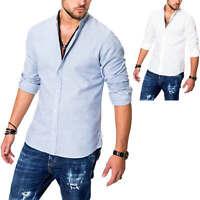 Jack & Jones Herren Langarmhemd Mit Stehkragen Leinenhemd Classic Business Hemd