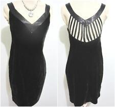 STAXS Evening Cocktail DRESS Size 10 BLACK Velour Beading Little Black Dress
