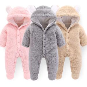 Newborn Baby Boy Girls Romper Velvet Hooded Jumpsuit Bodysuit Outfits Clothes