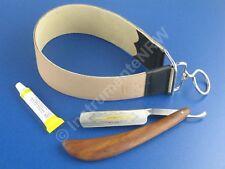Rasiermesser Set Holz Griff Goldätzung Hohlschliff 5.8 Zoll + Paste aus Solingen