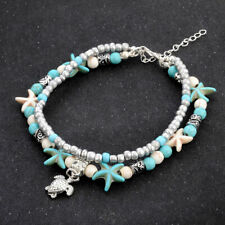 925 Silver Beach Boho Anklet Turtle Turquoise Starfish Crystal Beads Bracelet