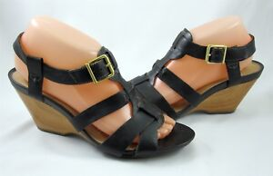 Clarks Artisan 8.5 Woodward Willow Black Leather Wedge Heel Womens T-Strap Shoes