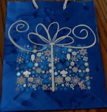 Cute Christmas Gift Pattern Mini Gift Bag - Mettalic Blue Background - BRAND NEW