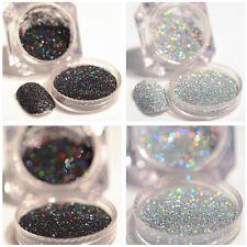 2Boxes Nail Glitter Powder Holographic Silver Black Nail Art Pigment Dust Decor