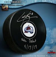 """CALE MAKAR Signed Colorado Avalanche Puck - """"NHL Debut 4/15/19"""""""
