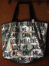 Victoria's Secret PINK Bling Rainbow Foil Tote Bag Large Shopper NWT RARE