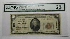 $20 1929 Ringling Oklahoma OK National Currency Bank Note Bill! Ch. #10548 VF25