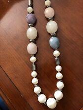 "Gemstone Precious Stone White Pearl Silver Flower 15"" Purple Pink Blue Necklace"