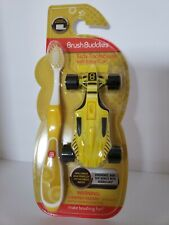 BRUSH BUDDIES KIDS TOOTHBRUSH WITH RACE CAR YELLOW ULTRA SOFT 3+ YEARS