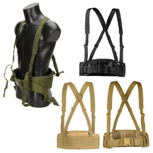 Tactical Molle Waist Padded Belt w/ Suspender Combat Multifunction Hunting Strap