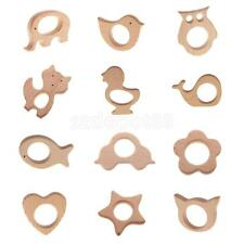 12pcs Handmade Natural Wooden Animal Shape Baby Teether Teething Toys Gift