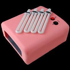 Pink 36W UV Lamp Gel Polish Curing Nail Art Dryer Light With Timer & 4 Bulbs