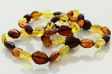 Lot of 3 Faceted Olive Beads Genuine Baltic Amber Stretch Bracelet 23.3g b0913-6