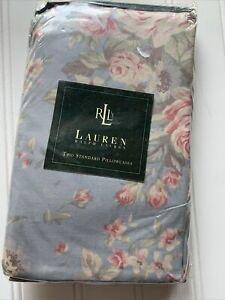 New RALPH LAUREN SHELTER ISLAND BLUE FLORAL  PAIR Pillowcases Standard