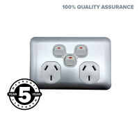 Slimline Wafer Slim WHITE Silver Double Power Point With Extra Switch GPO Outlet
