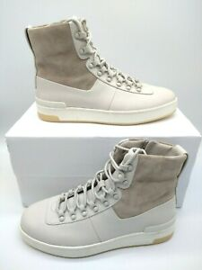 New Vince Beige Leather Combat Boots Lace Up Zippered Size 8 M