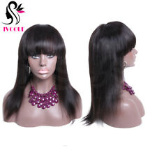 Long Straight Human Hair Wig With Bangs Virgin Brazilian Remy Lace Front Wig 18""