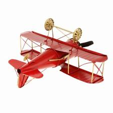 Retro Vintage Tin Toy Gift Collectibles Decor Airplane Model Biplane Red