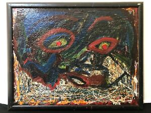 🔥 Antique Mid Century Modern Abstract California Oil Painting, 1969 - Pyle