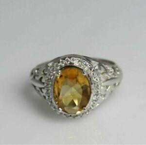 Natural Citrine White Topaz Gemstone 14K White Gold Men's Ring