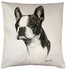 Boston Terrier RM Breed of Dog Themed Cotton Cushion Cover - Perfect Gift