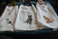 3 HANDMADE CROCHETED TOP HANGING KITCHEN TOWEL   CATS