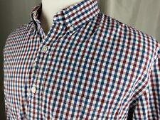 J.Crew Men's Slim Fit Long Sleeve Red Blue Check Button Down Shirt Size XLT Slim