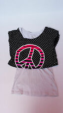 Justice layered look top peace sign girls size 14