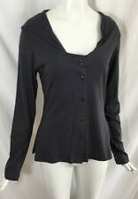 """Lunn by Lilith """"Camille Navy Cardigan"""" With Tiered Tulle Back Gray Blue Top 3/L"""
