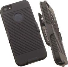 BLACK RIBBED HARD CASE COVER + BELT CLIP HOLSTER FOR APPLE iPHONE SE 5 5s