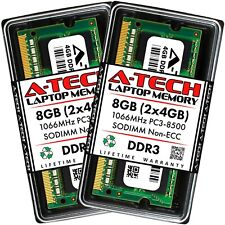 A-Tech 8GB 2 x 4GB PC3-8500 Laptop SODIMM DDR3 1066 MHz 204-Pin Memory RAM 8G 4G