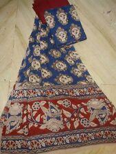Dress material for Salwar kameez Kalamkari Latest Design Dancer's Face Blue