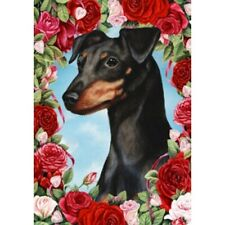 Roses House Flag - Uncropped Black and Tan Miniature Pinscher 19084
