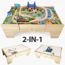 Kids Train Play Table Wooden Toys Large Size with Storage Drawer and 80PCs Toys