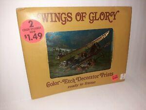 Vtg Color Foil Etch Decor Prints Wings of Glory Planes S.E. 5A Morane Aviatik