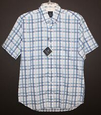 TailorByrd Golf Mens Blue Checks Cotton S/S Button-Front Shirt NWT $89 Size S