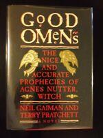 Good Omens Neil Gaiman Terry Pratchett 1990 HCDJ First/1st Signed by Pratchett