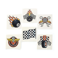 36 Checkered Racing Race Car TATTOOS BURN RUBBER Nascar BIRTHDAY Party Favor